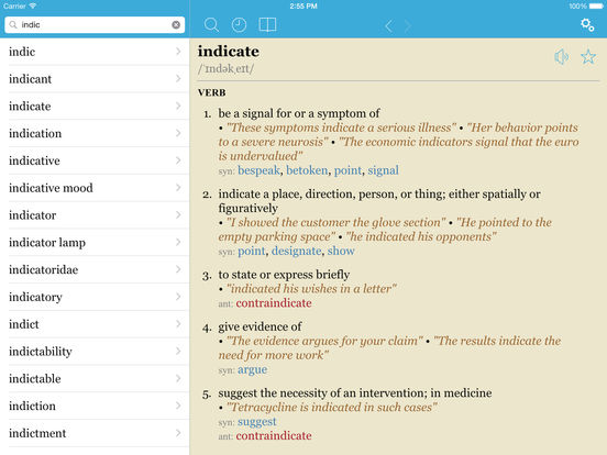 LexicEN English Dictionary & Thesaurus iPad Screenshot 1