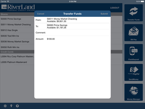 RiverLand Credit Union Mobile iPad Screenshot 2