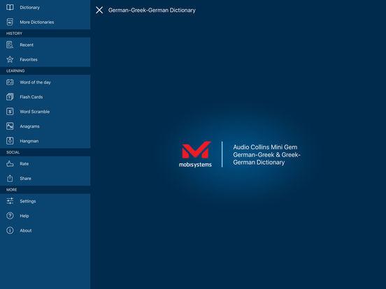 Audio Collins Mini Gem German-Greek & Greek-German Dictionary iPad Screenshot 1