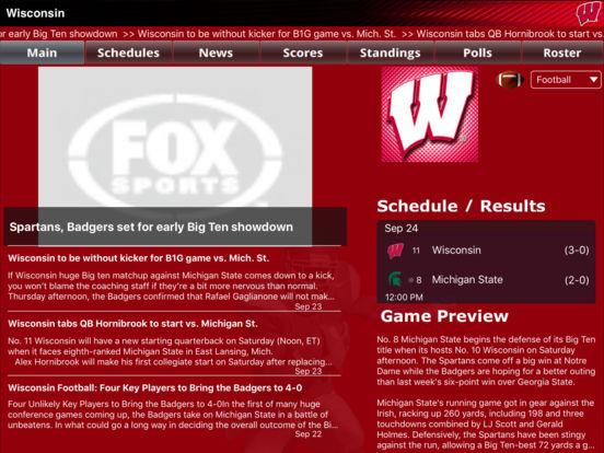 Wisconsin Badgers College SuperFans iPad Screenshot 1