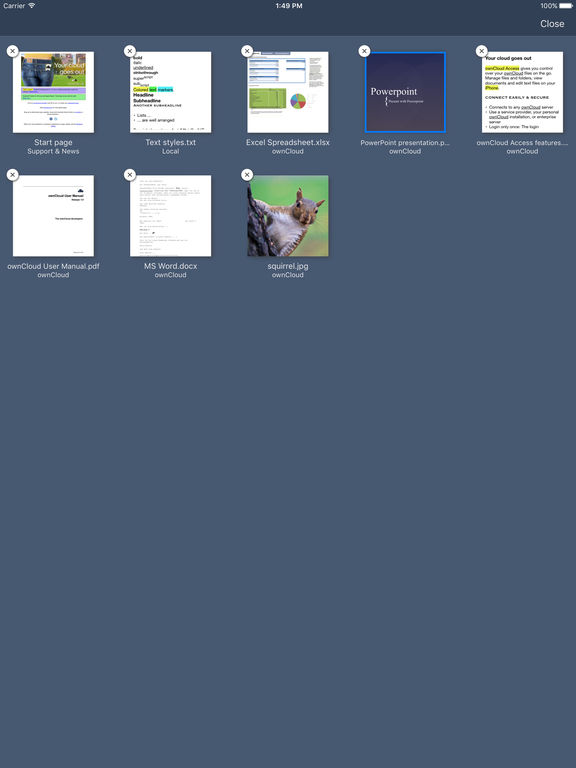 ownCloud Access Screenshots