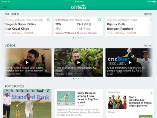 Screenshots of Cricbuzz for iPad