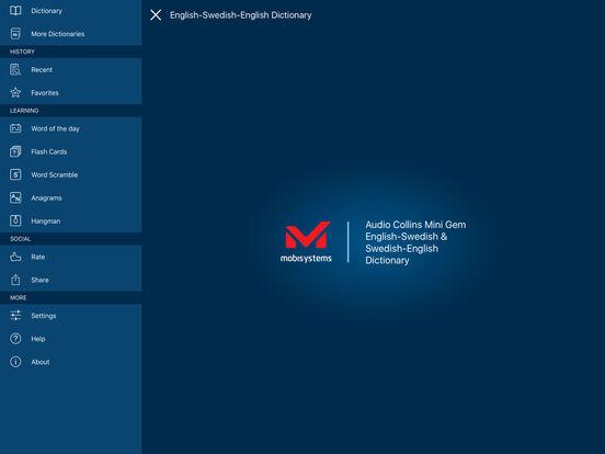 Audio Collins Mini Gem English-Swedish & Swedish-English Dictionary iPad Screenshot 1