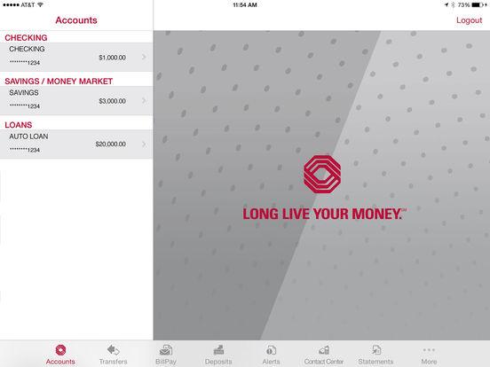 Bank of Oklahoma Mobile Banking iPad Screenshot 1