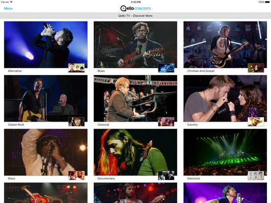 Qello Concerts screenshot