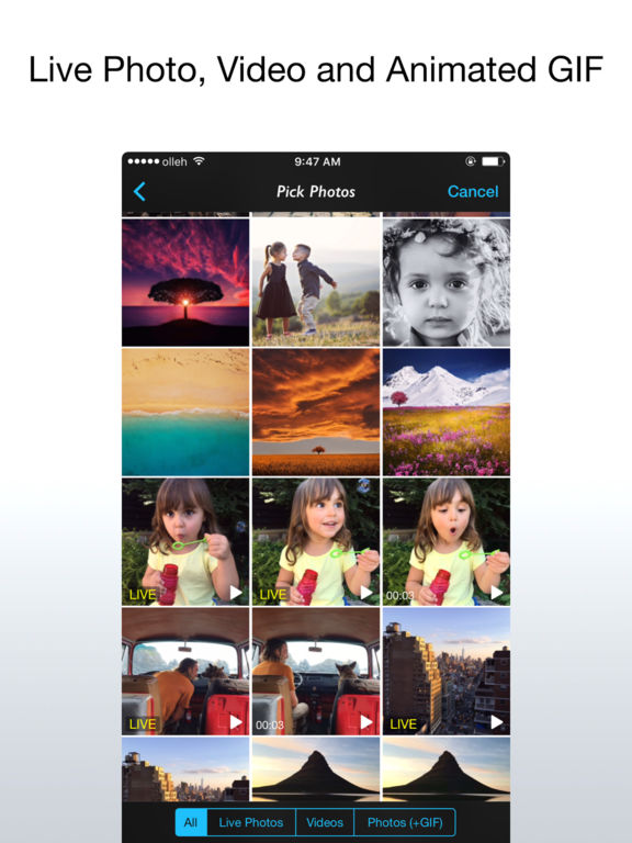 Live Layout for Live Photos, Videos and GIFs Screenshots