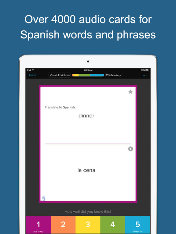 Learn Spanish Vocabulary * Screenshots