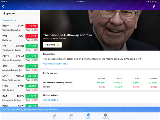 Yahoo! Finance iPad Screenshot 3