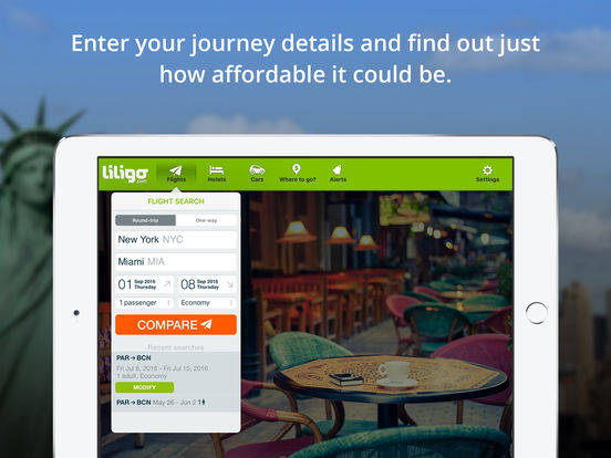 Comparateur de vols pas chers by liligo.com iPad Screenshot 1