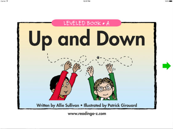 Up and Down - LAZ Reader [Level A-kindergarten] iPad Screenshot 1