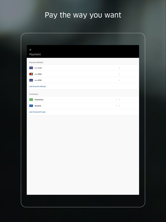 Screenshots of Uber for iPad
