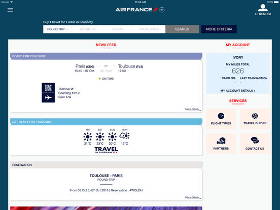 Air France Mobile iPad Screenshot 1