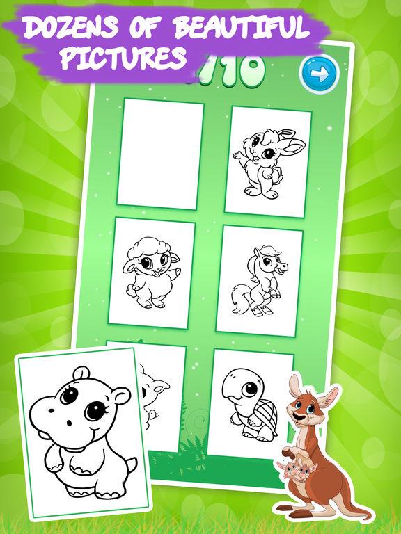животные Книжка-раскраска для маленького дошкольного малышей девушки: Дети рисунок и живопись игры СВОБОДНО