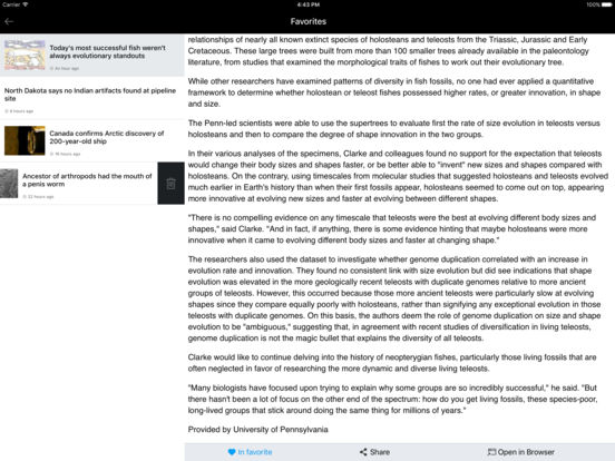 PhysOrg.com News Lite iPad Screenshot 2