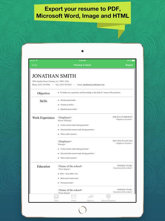 app shopper resume apex professional cv maker builder