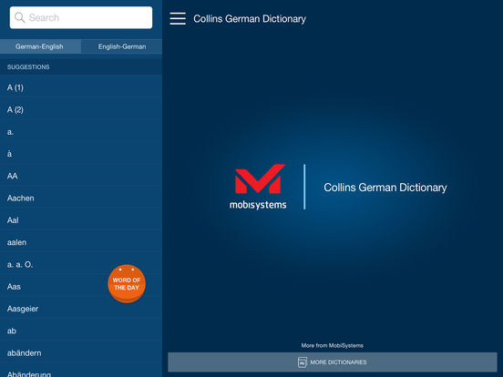 Collins German Dictionary iPad Screenshot 1