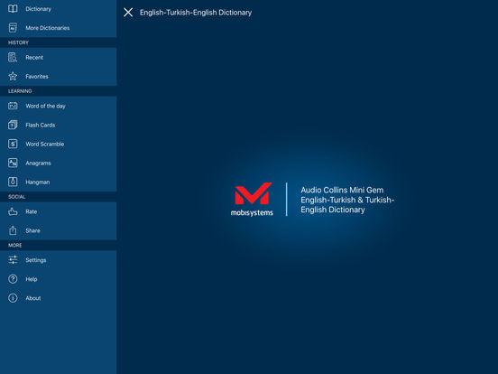 Audio Collins Mini Gem English-Turkish & Turkish-English Dictionary iPad Screenshot 1