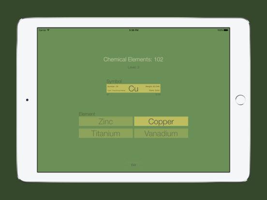 Chemical Elements Trainer iPad Screenshot 3