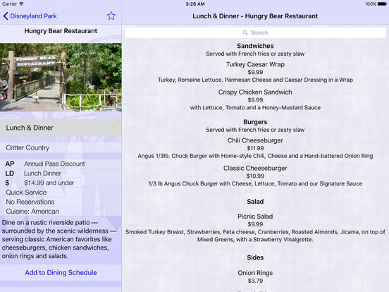 Disneyland Dining iPad Screenshot 1