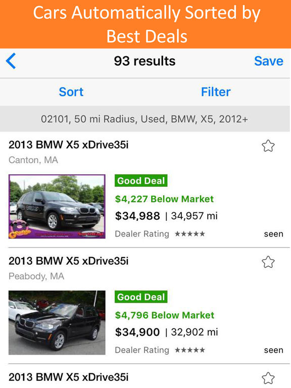 Used Car Search Pro by iSeeCars – Find 4 Million Local Cars for Sale Ranked by Best Deals & Price screenshot
