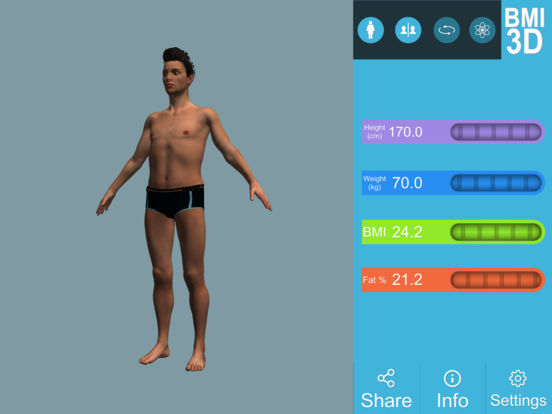 BMI 3D Pro (3D Body Mass Index calculator) Screenshots