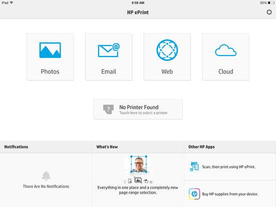 Screenshots of HP ePrint for iPad