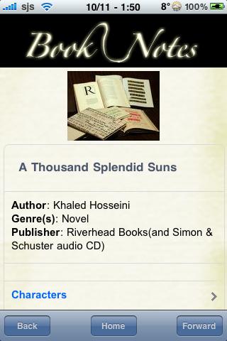 Book Notes - A Thousand Splendid Suns screenshot #3