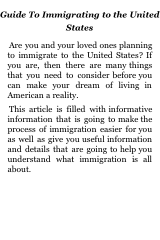Guide to Immigrating to the United States screenshot #1