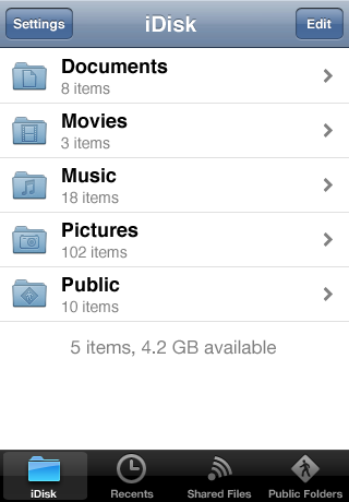 MobileMe iDisk screenshot #2