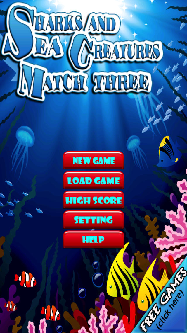 Sharks and Sea Creatures Match Three Game Pro Full Version screenshot 1