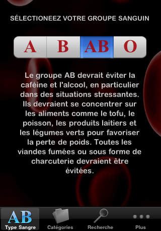 Blood Type Diet® in French screenshot 2