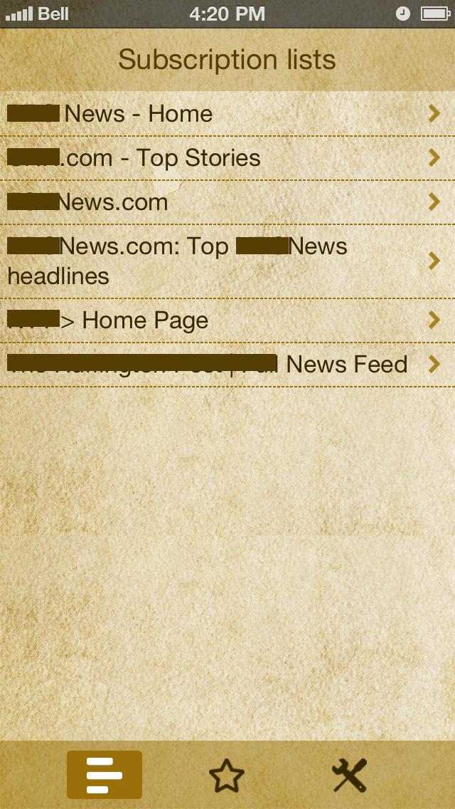 RSS Reader Lite for iPhone screenshot 1