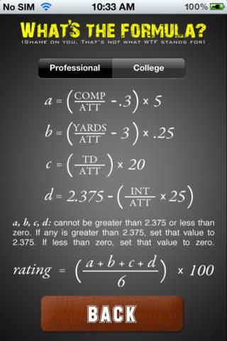 QB Rating Calculator - náhled
