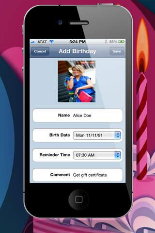 Birthday Reminder 2 screenshot 2