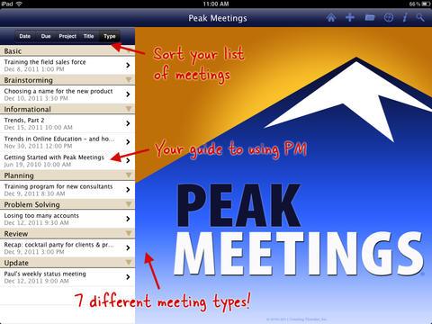 Peak Meetings HD (better, faster meetings) screenshot #1