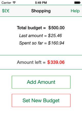 Shopping Budget Tracker - náhled