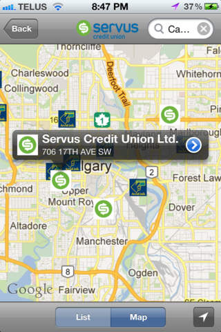 Servus ATM and Branch Finder - náhled