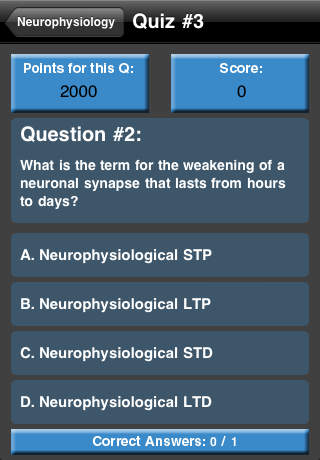 Neurophysiology Quiz screenshot 1