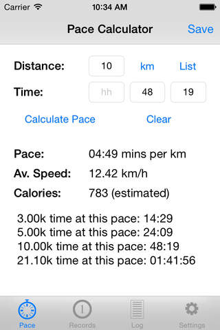 PaceTrack Pace Calculator - náhled
