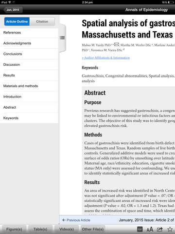 Annals of Epidemiology screenshot 7