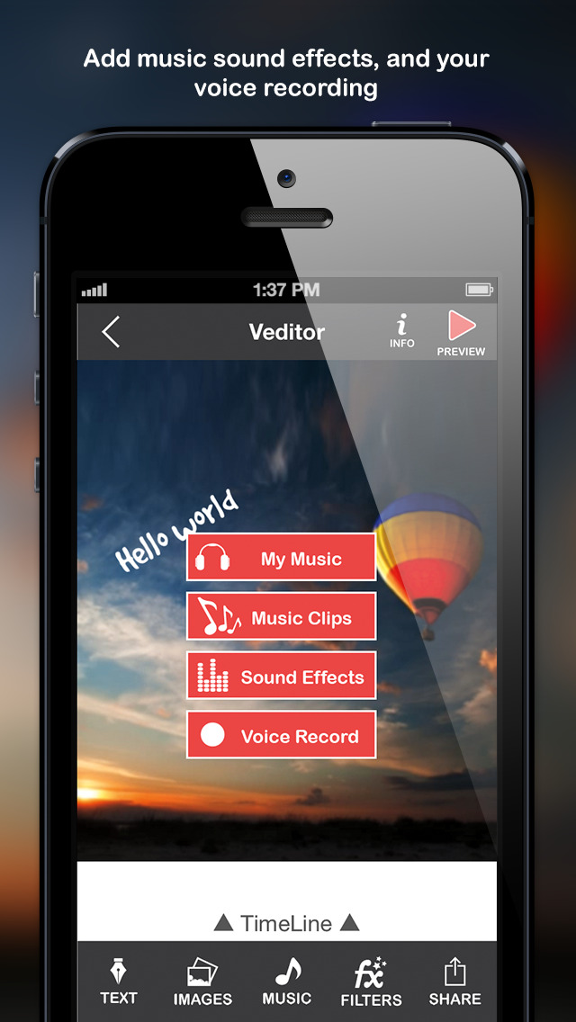 Veditor: Video editor and movie maker studio for YouTube and Instagram and Vine screenshot 3