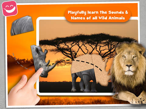 Wildlife Animals Jigsaw for young kids with simba screenshot 6