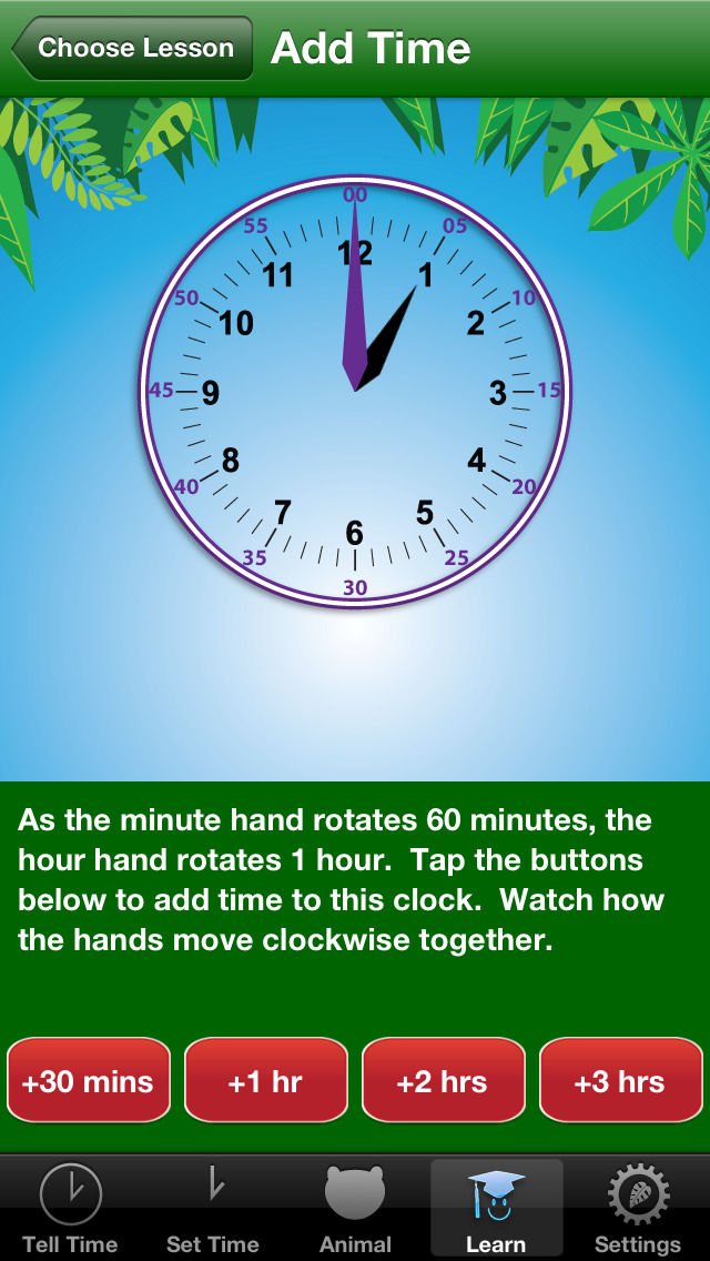 Jungle Time - learn how to tell time screenshot 4