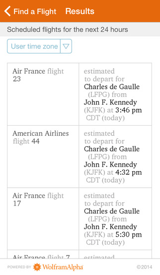 Wolfram Flight Information Reference App screenshot 2