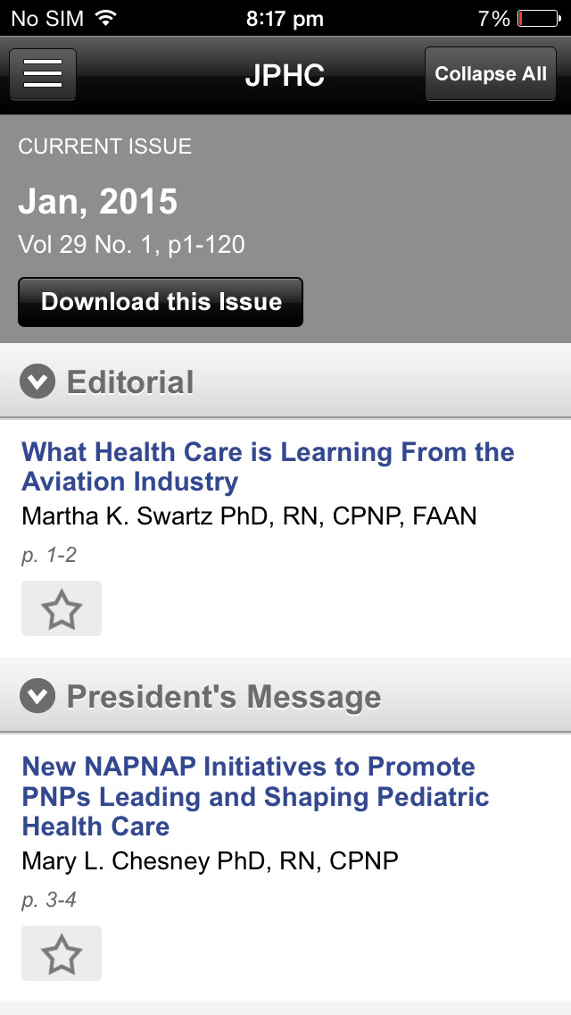 Journal of Ped Health Care screenshot 5