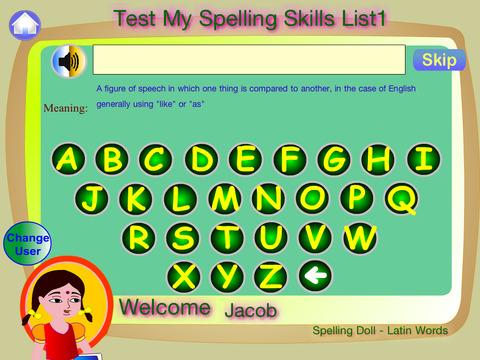 Spelling Doll English Words from German Vocabulary Quiz Grammar screenshot 6