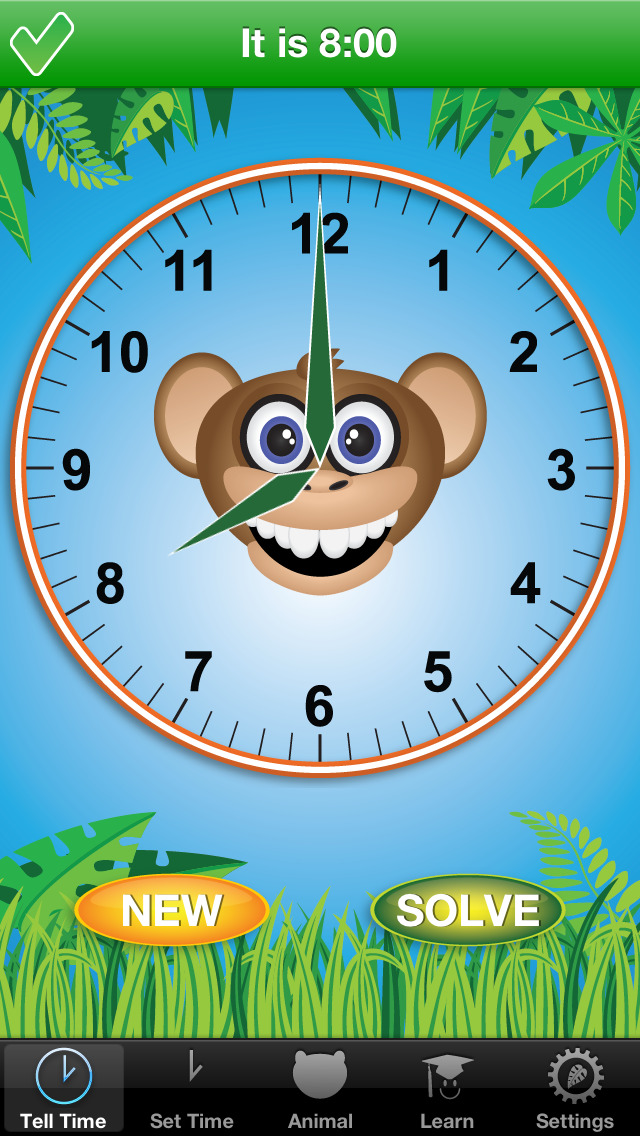 Jungle Time - learn how to tell time screenshot 1