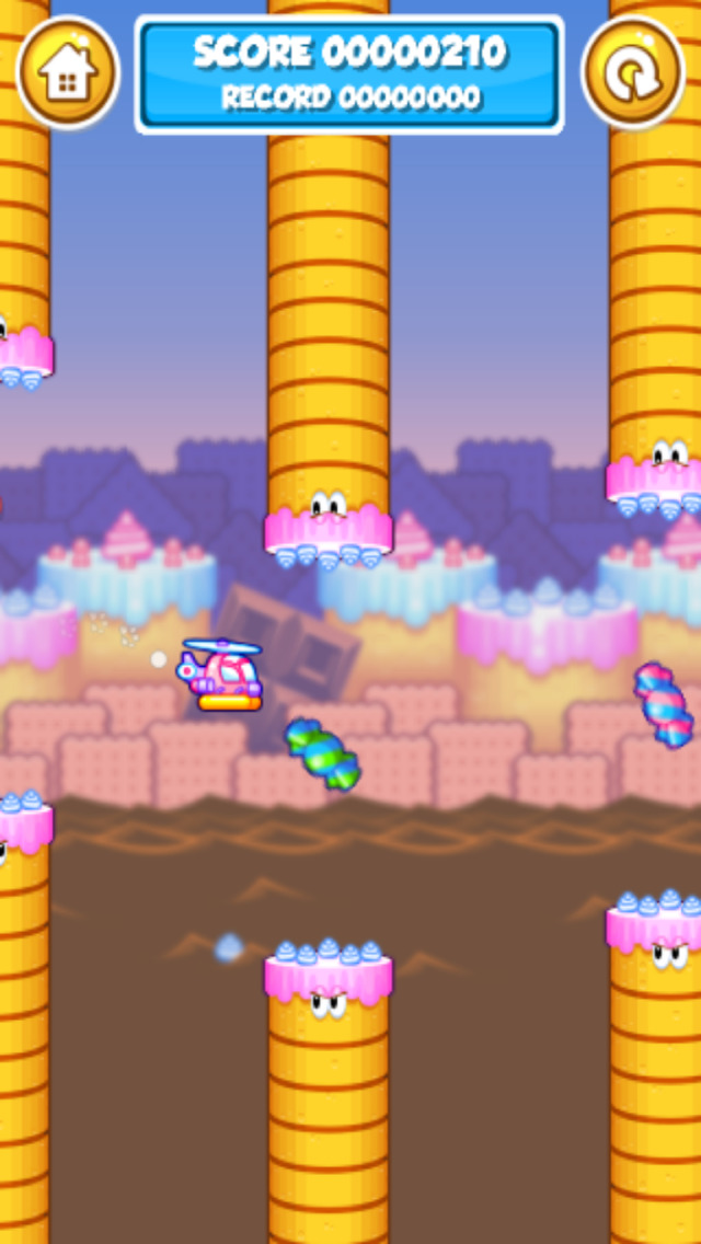 Candy Copter - Flappy Swing Heli-copters Game screenshot 2