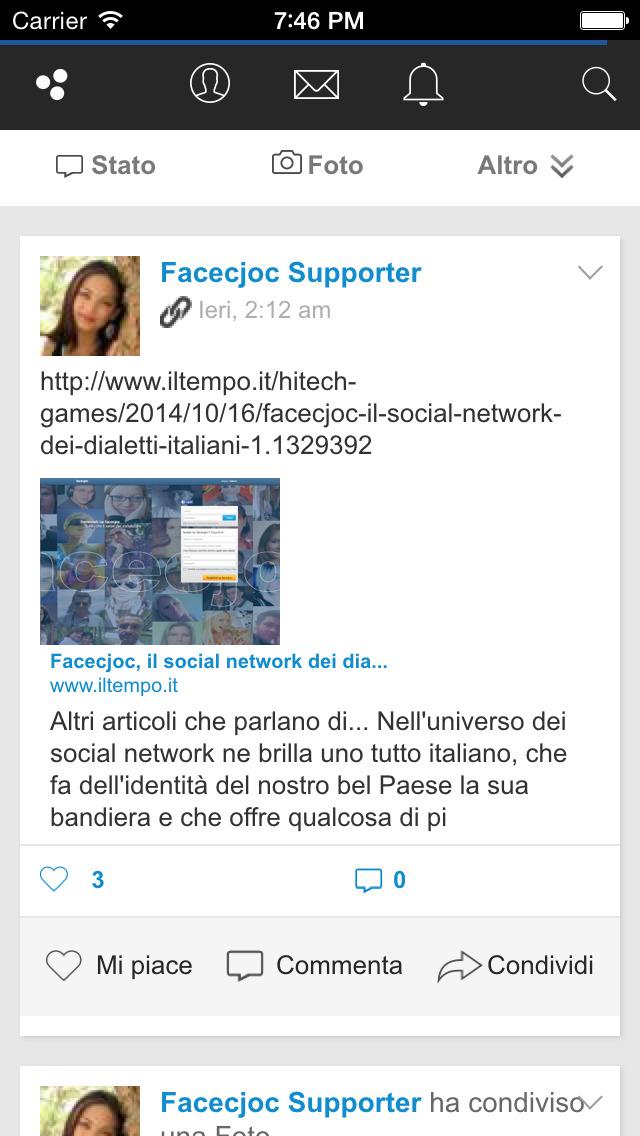 Facecjoc - Social network Italiano dei dialetti screenshot 5