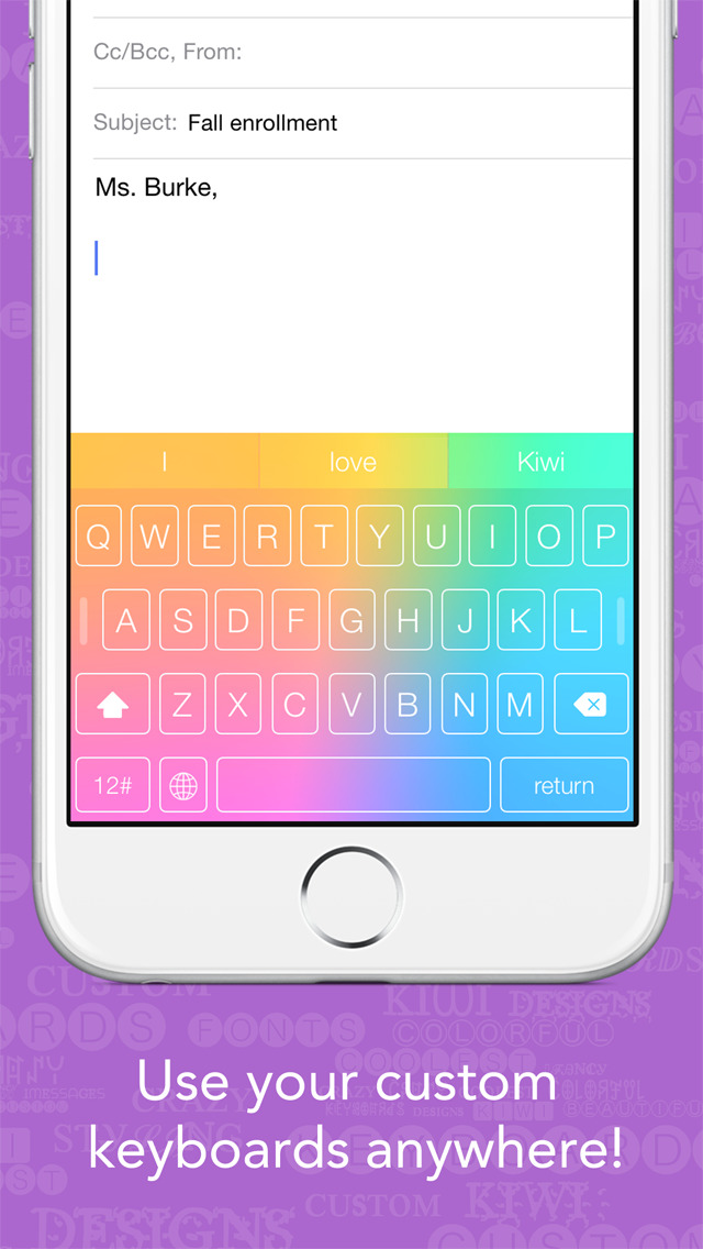 Kiwi - Colorful, Custom Keyboard Designer with Emoji for iOS 8 screenshot 4